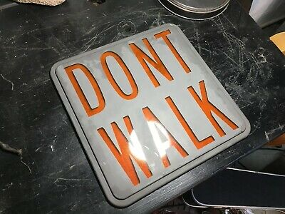 "DONT WALK SIGN 12"" Pedestrian GLASS Traffic Signal Light Amber Lens Vintage"