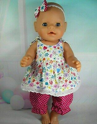 "Dolls clothes for 17"" Baby Born doll~COLOURFUL FLORAL STRAP DRESS~BLOOMERS~H'BOW"