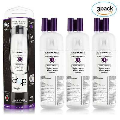 3PACK Whirlpool-Every Drop 1-EDR1RXD1-W10295370A Ice & Water Refrigerator Filter
