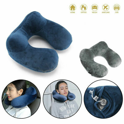 Foldable U-shaped Neck Rest Support Pillow Inflatable Cushion Travel Plane Sleep