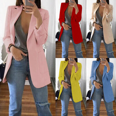 Women Ladies Long Sleeve Slim Blazer Suit Coat Work Jacket Formal Suit Plus Size