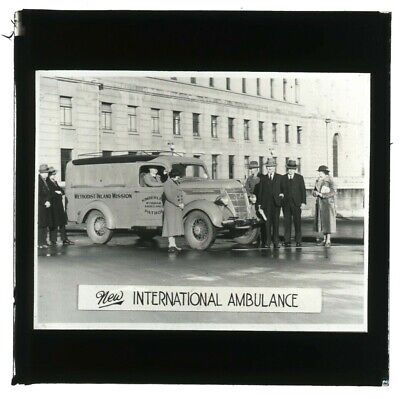 1940 Glass Lantern Slide New International Ambulance Kimberley Wyndham W.a. Z98