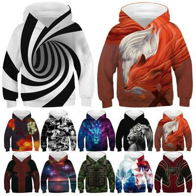 Boys/Girls Galaxy Woifs Animals 3D Print Hoodie Sweatshirt Pullover Jumper Tops
