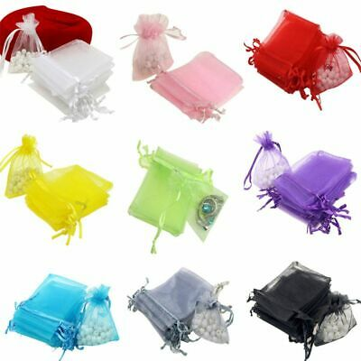 100pcs Organza Gift Bags Jewelry Drawstring Bags Wedding Favors Bags Mesh Bag AU