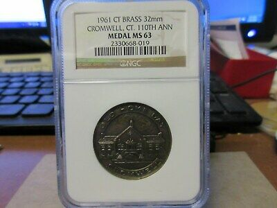 1961 Cromwell CT 110TH Anv. Brass NGC MS 63 32mm SC .50