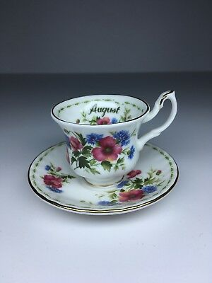 MINIATURE Royal Albert Flower of the Month August Poppy Cup & Saucer