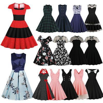 WOMEN STRIPED VINTAGE 1950s 60s Rockabilly Evening Prom Swing Dress ...