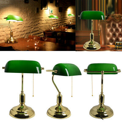 Vintage Bankers Desk Lamp Polished Brass And Green Glass With Swivel Head 60W UK