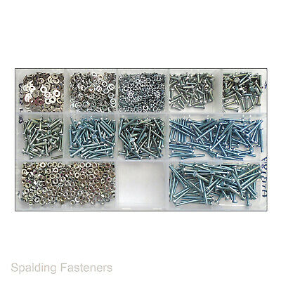 Assorted Zinc Plated M2 / 2mm Small Cheese Slotted Machine Screws Nuts , Washers