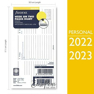 Filofax 2020 Personal Size Week on two Appts Horizontal Diary Refill (68420)