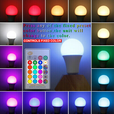 16 Color E27 10W RGB LED Lamp Bulb Dimmable Smart Home Light With Remote Control