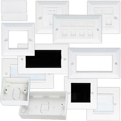 WALL BOXES & FACEPLATES Cavity Dry Lining Plug Wire Ethernet Internet Socket UK