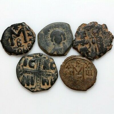 Coins: Ancient Top Lot Of 5 Byzantine And Arab Byzantine Coins-bronze
