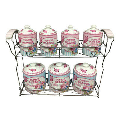 French Country Kitchen Canisters PINK FLOWER GARDEN with Seals Set of 7 New