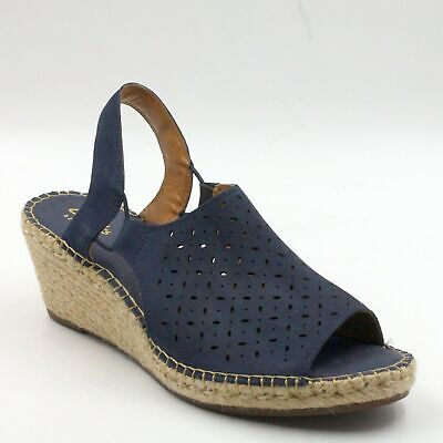7bdb776270d Clarks Artisan Leather Espadrille Wedge Sandals Size US 9M Navy Petrina Gail