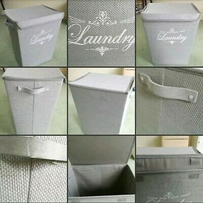 *Used* Lovely Large Grey Wicker Style Laundry Basket Lid Home Decor Bathroom Etc