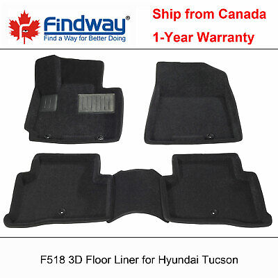 Black all Weather 3D Custom Car Floor Mat / Liner for 2016-2018 Hyundai Tucson
