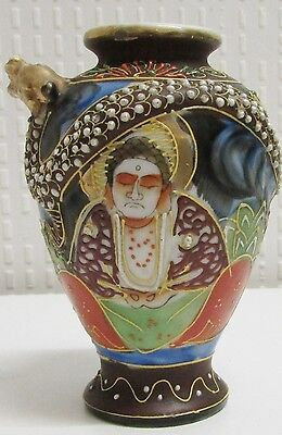 Satsuma: Small Vase Antique Decorated Dragon & Buddha