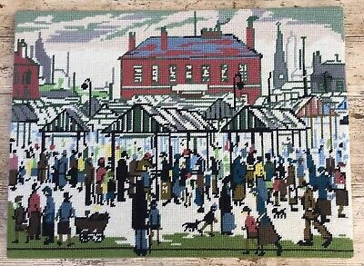 Vtg Lowry Painting Market Scene Completed Wool Tapestry DMC VGC