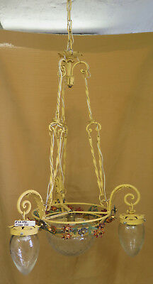 """Chandelier Vintage Wrought Iron with Flowers Leaves Glass """" Handmade in Italy"""