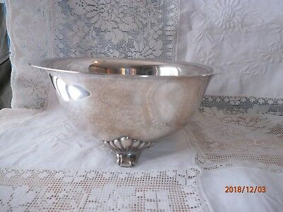 """EPCA Bristol Silver Poole Serving Bowl 3 Footed Shell Design Silver Plate 8"""""""