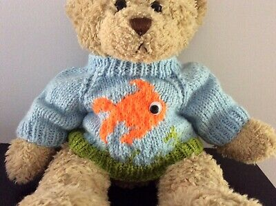 Hand Knitted Teddy Bear Jumper - Blue Goldfish - fits Build a  Bear
