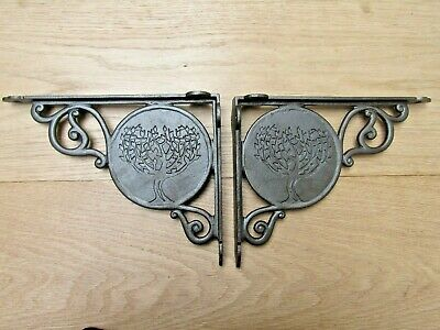 "PAIR OF 9"" FEVER TREE Cast iron rustic vintage retro old shelf support brackets"