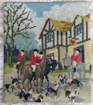 Fab Retro Vtg Completed Tapestry Fox Hunters Ready For The Hunt