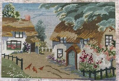 Fab Retro Vtg Completed Tapestry Rural Thatched Farm House & Chickens
