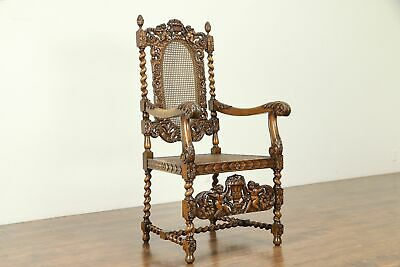 Throne or Antique Italian Hall Chair, Carved Angels or Cherubs #30985