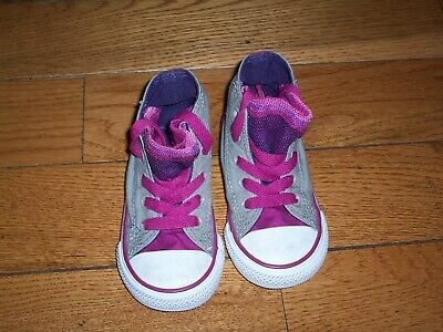 1fc937f303a1 CONVERSE CT ALL STAR BABY TODDLER SIZE 5 HIGH TOP Gray Purple SNEAKERS W