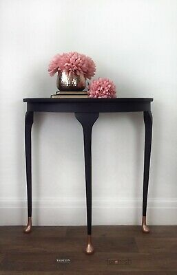 Black And Rose Gold Hand Painted Hall Table Half Moon Table Console