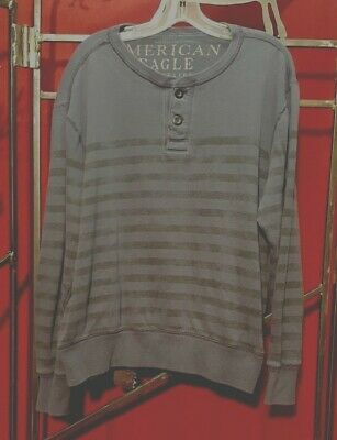 American Eagle AE Signature Graphic Henley T-Shirts Mens SZ S M Blue 2953 418