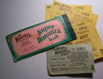 Vintage Knotts Berry Farm Super Bonanza Fun Book Tickets 1975