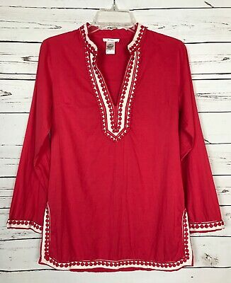74299a0cfff480 Anthropologie Esley Pink Spring Tunic Top Shirt Blouse Tee Women's Size S  Small