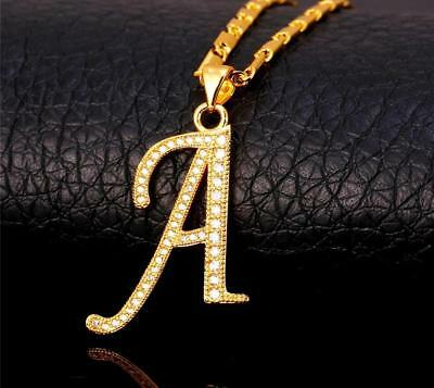 18K GoldPlated Initial English Alphabet A Letter Cubic Zirconia Necklace Pendant