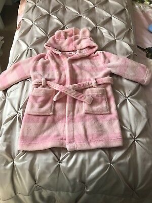 John Lewis Baby Girls Pink Striped Dressing Gown Robe 12-18 Months