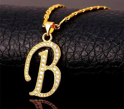 18K GoldPlated Initial English Alphabet B Letter Cubic Zirconia Necklace Pendant