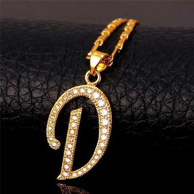 18K GoldPlated Initial English Alphabet D Letter Cubic Zirconia Necklace Pendant