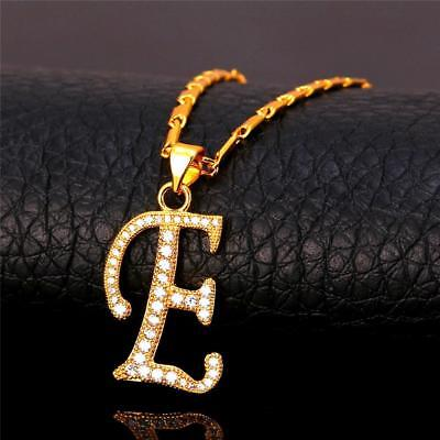18K GoldPlated Initial English Alphabet E Letter Cubic Zirconia Necklace Pendant