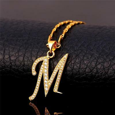 18K GoldPlated Initial English Alphabet M Letter Cubic Zirconia Necklace Pendant