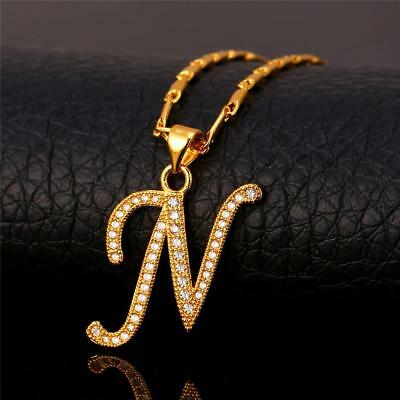 18K GoldPlated Initial English Alphabet N Letter Cubic Zirconia Necklace Pendant