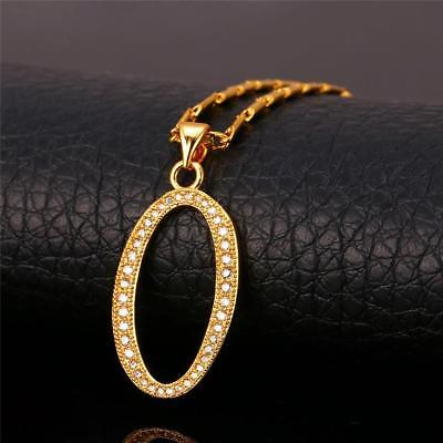 18K GoldPlated Initial English Alphabet O Letter Cubic Zirconia Necklace Pendant