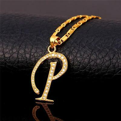 18K GoldPlated Initial English Alphabet P Letter Cubic Zirconia Necklace Pendant