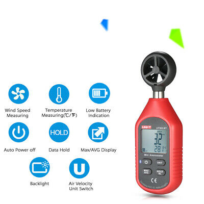 UNI-T UT363BT Bluetooth LCD Anemometer 0-30m/s Wind Speed Meter Thermometer Y3L4