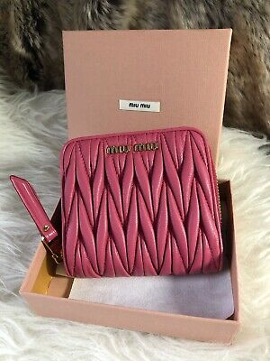 d7c2169d9a773 NWT Authentic Miu Miu BiFold French Wallet in Pink Twisted Leather