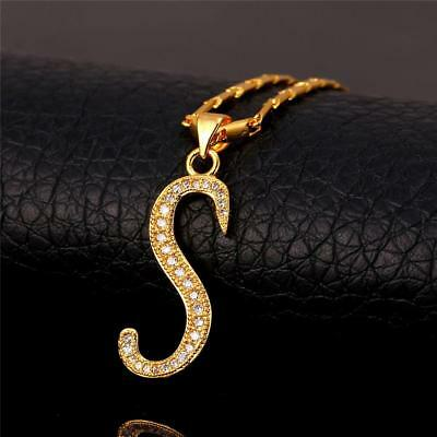 18K GoldPlated Initial English Alphabet S Letter Cubic Zirconia Necklace Pendant