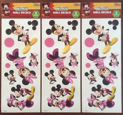 3 Sets Disney Wall Decals Stickers Scrapbook Mickey & Minnie Mouse
