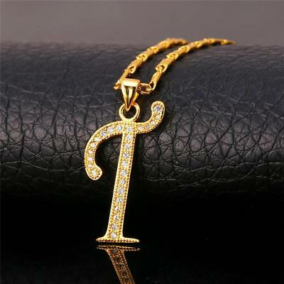 18K GoldPlated Initial English Alphabet T Letter Cubic Zirconia Necklace Pendant