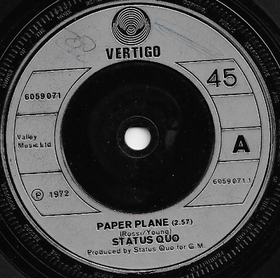 STATUS QUO - PAPER PLANE / SOFTER RIDE  - ORIGINAL 70s BRITISH CLASSIC ROCK